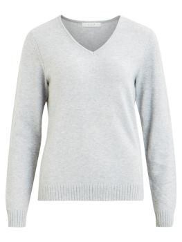 Viril l/s V-Neck Knit Top i Light Grey Melange