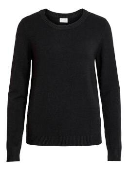 Viril l/s O-Neck Knit Top i Black