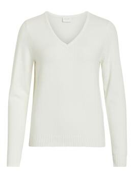 Viril l/s V-Neck Knit Top i White Alyssum