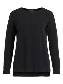 Viril High Low l/s Knit Top i Black