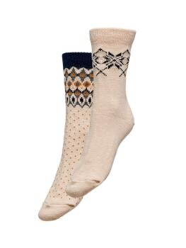 Siena Socks 2-Pack i Cloud Dancer Jaquard Detail - Dark Navy