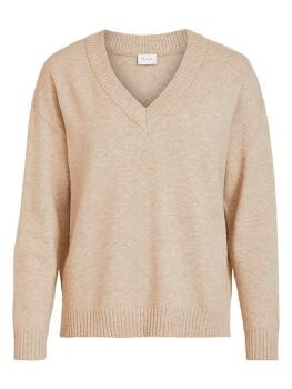 Viril Oversize V-Neck Knit Top i Natural Melange