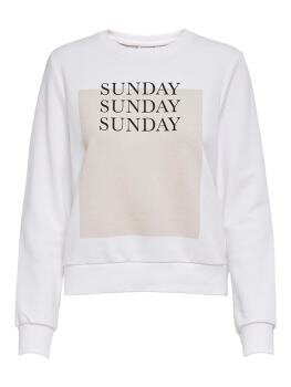 Weekday Life Reg l/s O-Neck Sweat i Bright White Sunday