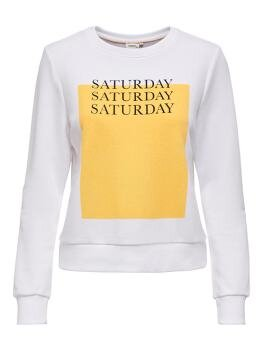 Weekday Life Reg l/s O-Neck Sweat i Bright White Saturday