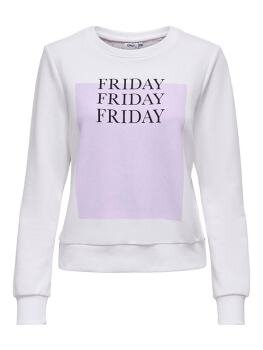 Weekday Life Reg l/s O-Neck Sweat i Bright White Friday