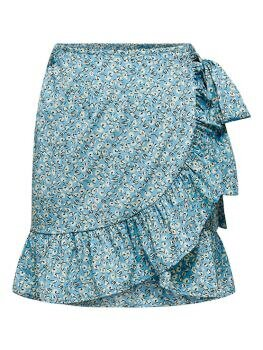 Olivia Wrap Skirt i Dusk Blue Two Tone Flower