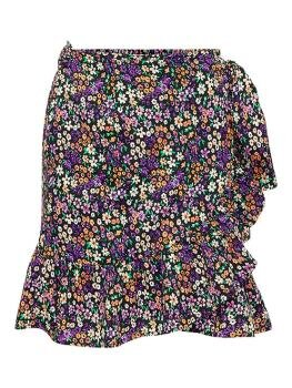 Olivia Wrap Skirt i Black Shore Flower