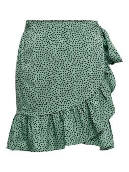 Olivia Wrap Skirt i Chinois Green Black Spot