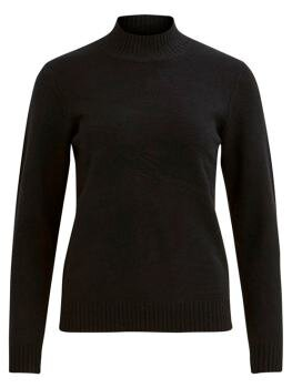 Viril l/s Turtleneck Knit Top i Black