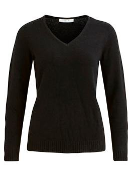 Viril l/s V-Neck Knit Top i Black